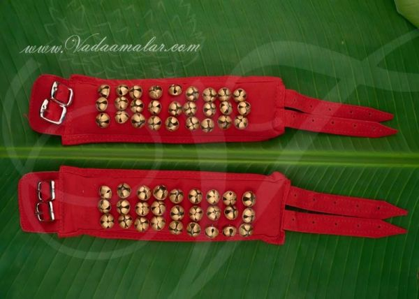 3 lines of brass Ghungroos Salangai Childrens cloth / Velvet base