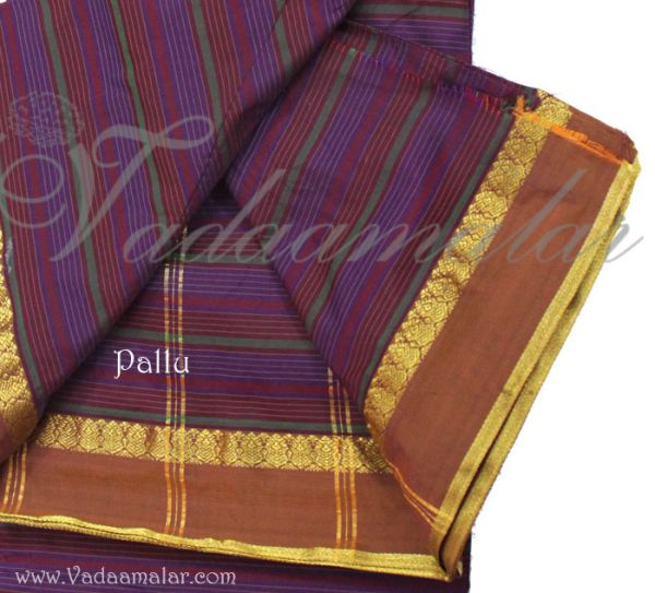 Purple With Maroon Colour 9 yards Ethnic India Saree Traditional Indian Sari Buy Online