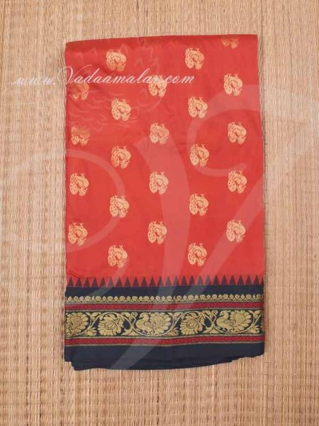 Orange with Black Cololr Art Silk Saree Poly Cotton Indian Sarees Buy Now Online