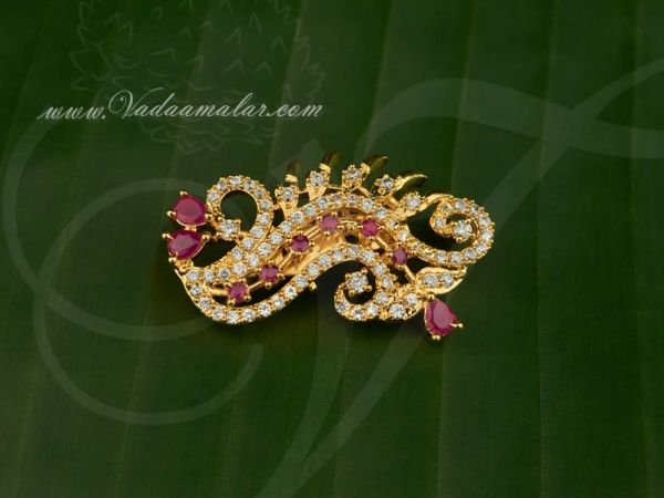 Peacock Design Saree Pins Gold plated American Diamond and Ruby Stone Gift Jewelry