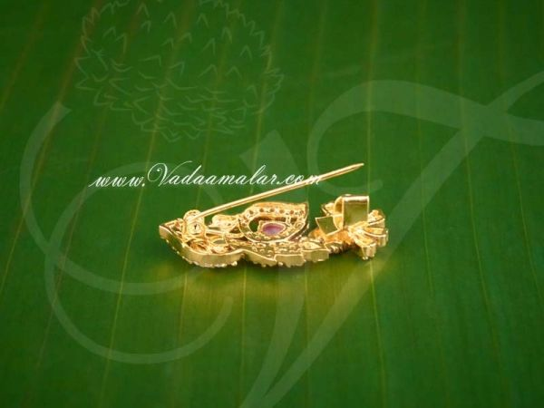 Saree Pins Gold plated  Ruby Emerald Stone Gift Jewelry