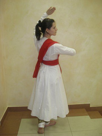 Traditional Simple Indian Kathak Dance Costume in Satin. Transparent sleeves with satin border.