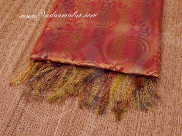 Orange Color Poly Cotton Zari Brocade Shawl Gift Stole for Guests
