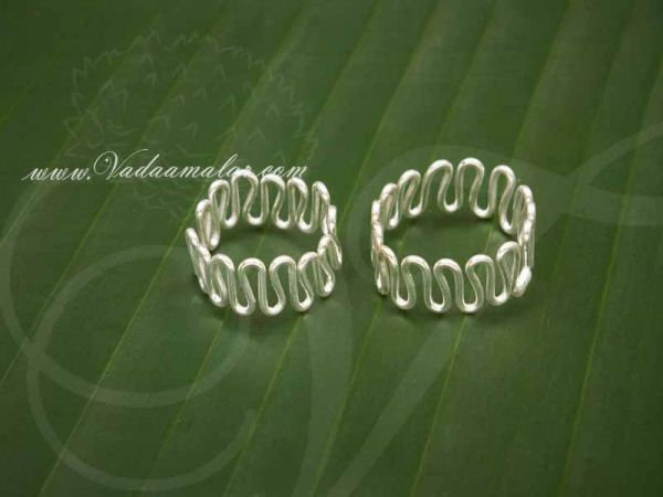Adjustable Bichiya Metti silver color white metal Indian Style Toe Ring Feet Jewelry - 1 pair