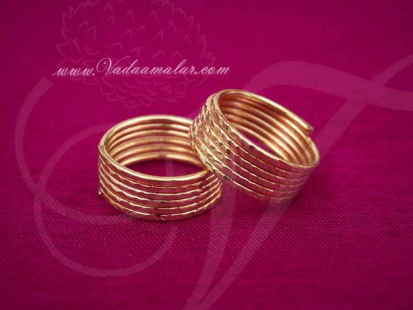 2 pieces Micro Gold plated Metti India Style Toe Ring Feet Leg Jewelry