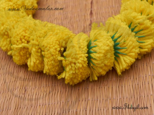 1 meter Artificial Marigold Samanthi Fluffy Flowers For Decorations Buy now