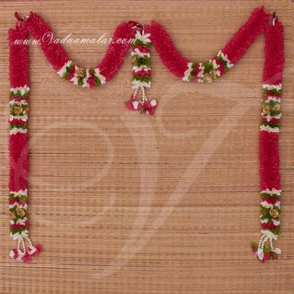 Decorative Pink Color Garland Door Decoration Synthetic Flowers - Washable