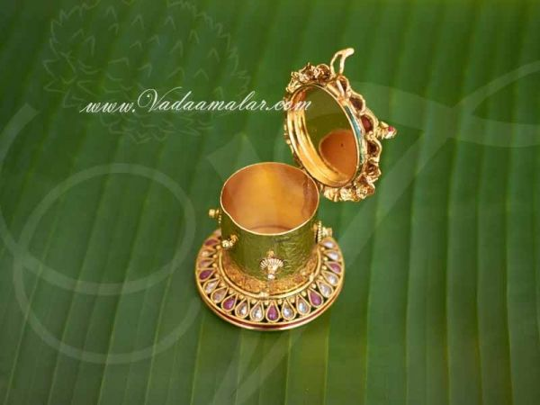Gold Plated Kundan Stone Classic Sindoor Box Kumkum Holder Shop Now