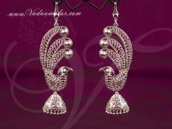 Peacock design white metal jhumka with ear extension India Odissi Tribal Dance Ornaments