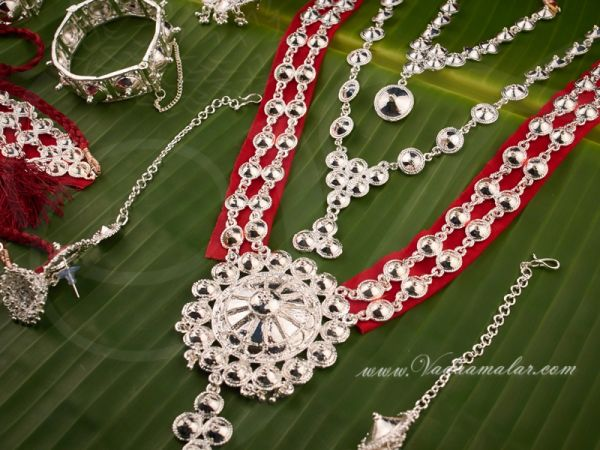 Odissi dance white metal full set Indian Jewelry Buy Now