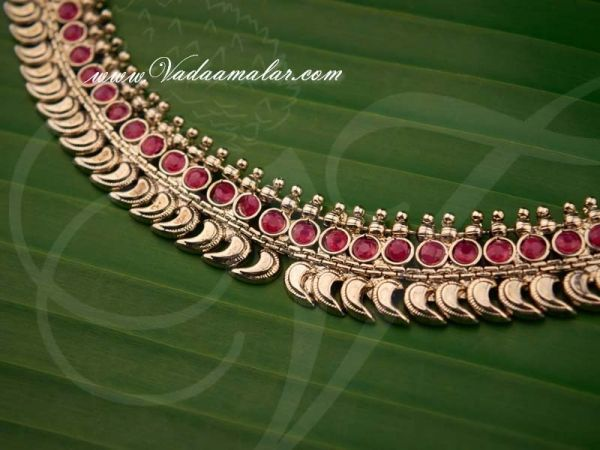Pink Stones White Metal Small Mango Design Necklace buy now