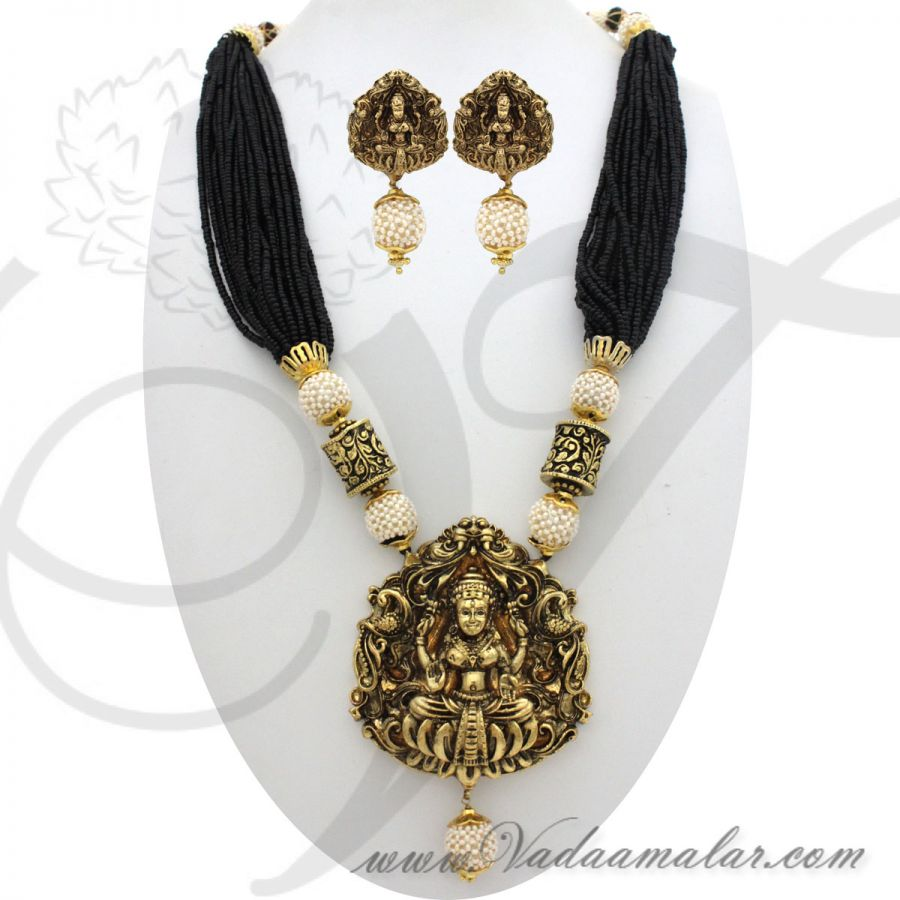 Indian traditional antique beads necklace jewelry with earrings