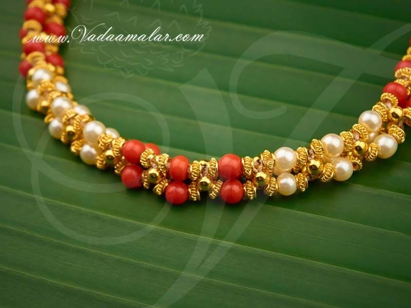 White /& Red Polki with Ruby Stones Pendants in 4 Lines Red Crystals Necklace Mala Earrings Set Indian Bollywood Party wear Jewelry .Na n196
